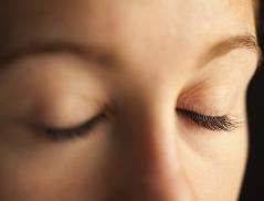 closed eyes in meditation